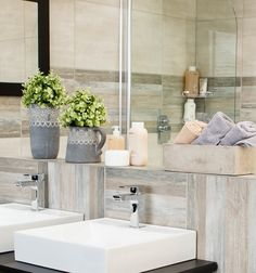 Having pot plants in your bathroom is the perfect way to embrace the botanical design trend. Be waterwise and use your shower or bathwater to give them a drink. #botanical #savewater #trendyhome #waterislife #bathroom