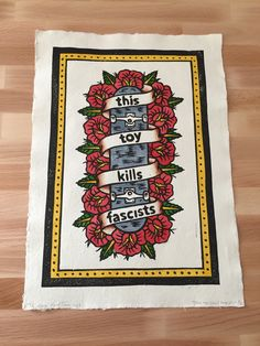 This Toy Kills Fascists. Hand painted lino print. £40 www.thelongvacationart.etsy.com Lino Cuts, Lino Prints, Traditional Tattoo, Handmade Art, Hand Painted, Toys, Cards, Painting, Tattoo Traditional