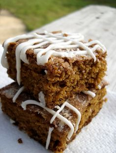 Gingerbread bars, because winter is coming.  :-)  Not that you can't have gingerbread bars in the summer or fall, of course.
