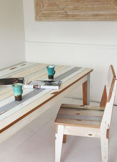 Repurposed table made from wood recovered from houses demolished after the Christchurch earthquake