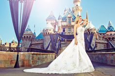 Once upon a time never looked so dreamy. We teamed up with Weddingbells to make some fairy tale magic come true at our recent Disneyland editorial photo shoot. From the icy goodness of the Elsa. Disney Inspired Wedding, Disney Wedding Dresses, Bridal Dresses, Disney Weddings, Destination Weddings, Gorgeous Wedding Dress, Dream Wedding, Wedding Guest Looks, Wedding Dress Gallery