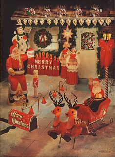 Blowmold outdoor Christmas decorations in the 1969 Sears Christmas Catalog. Primitive Christmas, Merry Christmas, Christmas Love, Christmas Photos, Retro Christmas Decorations, Vintage Christmas Images, Vintage Christmas Ornaments, Vintage Holiday, Yard Decorations