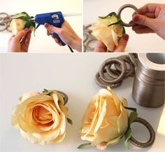 A good day starting with DIY tip! Stick the artificial flower with hot glue on the link … Wooden Napkin Rings, Diy Napkin Rings, Napkin Folding, Wedding Napkins, Decoration Table, Dinner Table, Artificial Flowers, Diy And Crafts, Shabby Chic