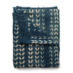imogeneandwillie.com dark-faded-blue-with-natural-pattern-textile blanket