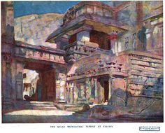 Ellora Caves - Watercolour of Kylas Temple