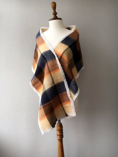 Excited to share the latest addition to my #etsy shop: xmas gift, Plaid Scarf, Winter scarf, scarf with lace, Tartan scarf, gift for her, gift for mom http://etsy.me/2jJnTiL #accessories #women #brown #birthday #christmas #giftforher #bohoshawl #bohemianscarf #nativeclothing
