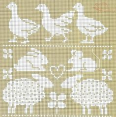 Goose, bunny, mouse & sheep cross stitch pattern