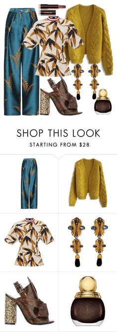 """""""Maize Runner"""" by fashionforwarded ❤ liked on Polyvore featuring Chicwish, Marni, Fendi, N°21, Christian Dior, Hourglass Cosmetics and nailedit"""
