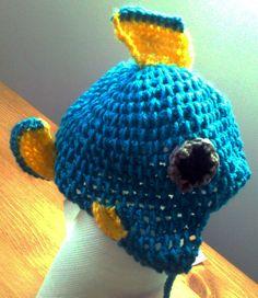 Tropical Fish crochet Hat for baby born  Light blue by HAtnimals, €12.00
