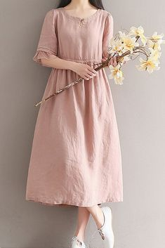 Women loose fit over plus size dress drawstring maxi pink skirt fashion trendy #Unbranded #dress #Casual