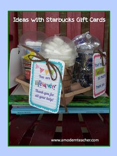 This is perfect for parent (or any other kind of) volunteers!  Include a Starbucks gift card and use a Starbucks tray and cups to store candy (that correlates with gift tags).  Gift tags are saved to my flashdrive.