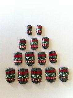 Christmas Aztec Tribal Nails