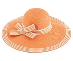 Stripe Brim Straw Hat in Orange, $15.99