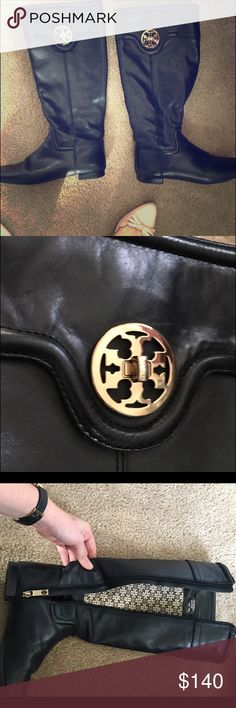 Tory Burch Boots Black, smooth, polished leather boots in the iconic Tory Burch style! Authentic and super high quality leather. No major wear to the hardware and the leather is recently polished and conditioned. It is soft leather, so it creases for comfort. The calves run narrow like most of her boots, and also like most of her shoes these run a little big. Size 8.5 but I would say more like a 9. Tory Burch Shoes Winter & Rain Boots