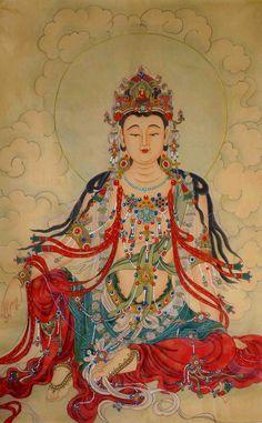 Chinese Silk Paintings For Sale,Guanyin Buddha Mural,Buddha Paintings