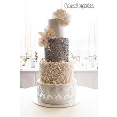 - Wedding Cake with Stunning Sequence Detail - Cake by @cakes2cupcakes - Like if you want a taste!! - Tag a friend who would love this!! -