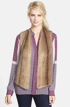 NYDJ Faux Fur Mixed Media Vest available at #Nordstrom