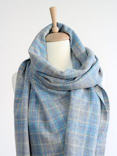 778a23c66f5a3 Blue Wool Scarf Shawl for Women & Men, Large 100% Wool Scarf, Soft Wool  Blanket Scarf, Powder Blue Tartan Woven Scarves in Scottish Style