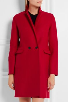 Crimson wool-felt Button fastenings through double-breasted front 100% virgin…
