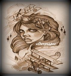 aviator girl tattoo @s0ur Grapes