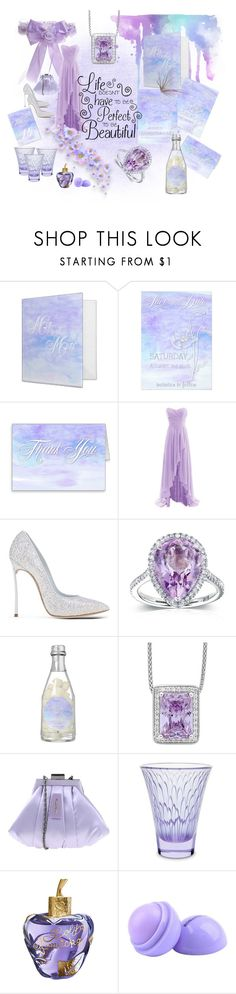 """Lavender Watercolor Poppies Wedding"" by weddingtrends on Polyvore featuring interior, interiors, interior design, home, home decor, interior decorating, Casadei, Kobelli, Lalique and Lolita Lempicka"