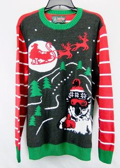 Mens Ugly Christmas Sweater Gray Green Red White Santa Polar Bear Size M #UglyChristmasSweater #Crewneck