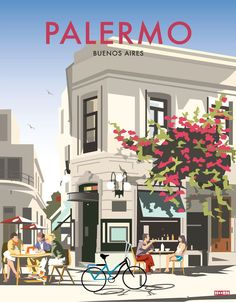 Posters inspired from the neighbourhoods and cultural hubs of buenos aires Vintage Travel Posters, Vintage Postcards, Vintage Ski, Palermo, City Poster, Vintage Hawaii, Travel Illustration, Illustrations, Prints