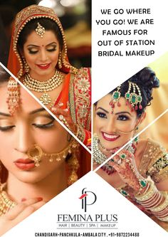 We Go Where You Go! We are Famous for Out of Station #Bridal #Makeup ..!!  At @FeminaPlus  Our #stylists and #makeup #artists will accompany the bride-to-be, to an #outstation location on special request.   Book your appointment now @ 0172 4622884 (Chd), 4025050 (PKL) & 2444244 (Ambala)