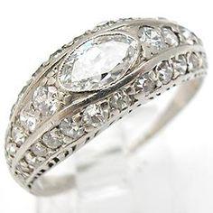 ART DECO ANTIQUE DIAMOND ENGAGEMENT RING WEDDING BAND SOLID PLATINUM