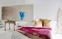 blue chandelier and pink and mustard bedding. White Bedroom, Modern Bedroom, Bedroom Decor, Bedroom Ideas, Bedroom Designs, Extra Bedroom, Master Bedrooms, Mustard Bedding, Custom Headboard