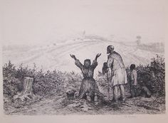 "This powerful etching by Edwin Forbes is called, "" The Sanctuary"" Plate 40. The etching shows a black family at the end of the war. The mother on her knees, thanking God, and the Father and a boy is standing reverently by.  Currently on sale for $149.99. Please visit our website for buying details."