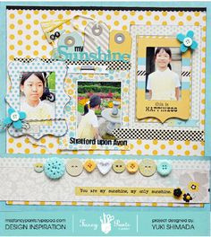 """I like the 3 different frames on this layout, providing unity but contrast. """"You are my Sunshine"""" by Missfancypants via Scrapbook.com."""