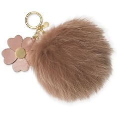 Michael Michael Kors Large Pom Pom with Flower Keychain ($39) ❤ liked on Polyvore featuring accessories, fawn, fur pom pom key chain, fur key chain, michael kors key chain, pom pom key chain and key fob chain