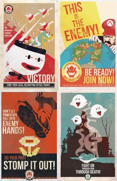 Mario Propaganda Posters :) think Keelan and Qamar .... (Looks like prints can be ordered from: http://frodesignstore.blogspot.ca/)