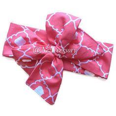 Toddler Turban Headband Coral Bow Head wrap Boho by NeAccessory