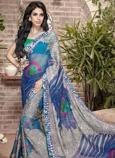 Beige and Blue Faux Chiffon Brasso Saree with Blouse Bollywood Designer Sarees, Indian Designer Sarees, Indian Sarees Online, Latest Designer Sarees, Latest Sarees, Designer Sarees Collection, Saree Collection, Casual Saree, Indian Ethnic