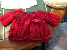 Free crochet baby cardigan pattern.  Use soft yarn and possibly bigger hook.