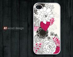 IPhone 5 case IPhone 4 case white red Floral Rubber by Atwoodting, $9.99