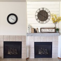 Before and after of our new fireplace! 😍 I really wanted to create a focal point in our living room, so I added some shiplap to the wall, made a bigger rustic clock, and built this awesome floating shelf from @shanty2chic for the mantel. I'm so thrilled with how it turned out!!! 🙌🏼🙌🏼   What's your favorite part about it??   #rusticrosebud #buildlikeagirl #shanty2chic #transformationtuesday #floatingshelves #builtnotbought #wood #makersgonnamake #springfling4decor #home #decor…