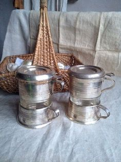 Vintage Silver Plate Coffee Cups / Filter Coffee Sets / Genuine Art Deco French Brevete / 2pc / Home Decor by BrocanteArt on Etsy