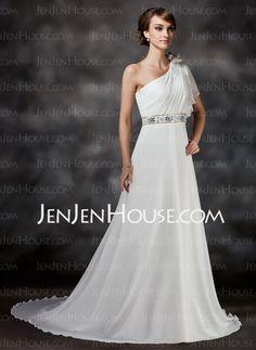 A-Line/Princess One-Shoulder Chapel Train Chiffon Wedding Dress With Ruffle Beadwork Flower(s) (002017386)
