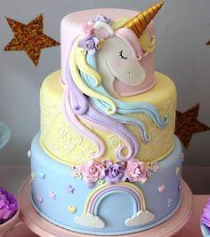Chocolate and pear crumble cake - HQ Recipes Birthday Cake Girls, Unicorn Birthday Parties, Fondant Cakes, Cupcake Cakes, Birthday Cake Decorating, Girl Cakes, Savoury Cake, Party Cakes, Cake Designs