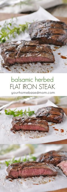 Balsamic Herbed Flat Iron Steak - tender, juicy and so much flavor!
