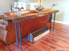 beach wood-iron rustic table-diy4