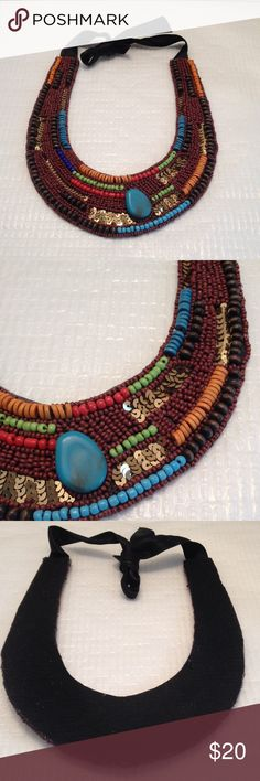 Beautiful ribbon tie necklace Beautiful beaded necklace in good condition, ribbon tie back Jewelry Necklaces