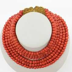 19th Century 6 Strand Red Coral Necklace 18KG Clasp