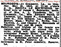 Bourgeois, Regina Le Bourgeois Obituary