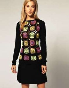 67 ideas crochet granny square top posts for 2019 Beau Crochet, Pull Crochet, Crochet Jumper, Crochet Jacket, Crochet Blouse, Knit Dress, Knit Crochet, Crochet Baby, Dress Pants