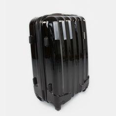 Čierny cestovný kufor plastový stredný Suitcase, Briefcase