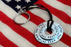 """""""You Are Stronger Than You Think Custom Metal Stamped keychain on Etsy.  Perfect for military spouses/parents, college graduates, marathon runners, etc.  Can be personalized!""""  This is beautiful and a great reminder of the strength we have - MilitaryAvenue.com"""